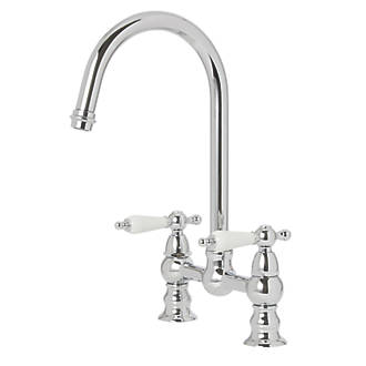 Cooke & Lewis 59A  Deck-Mounted Dual-Lever Mixer Kitchen Tap Chrome