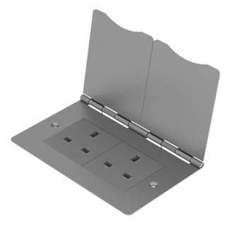 British General 13A 2-Gang Unswitched Floor Socket Brushed Steel