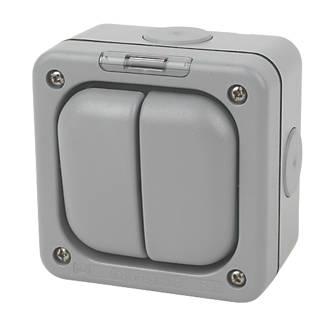MK Masterseal IP66 10AX 2-Gang 1-Way Weatherproof Outdoor Switch with Neon