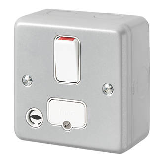 MK Metal-Clad Plus 13A Switched Metal Clad Fused Spur & Flex Outlet  with White Inserts