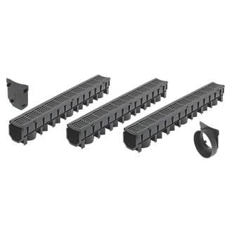 FloPlast FloDrain Garage Pack Black 115mm x 1012mm 3 Pack