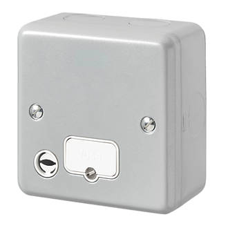 MK Metal-Clad Plus 13A Unswitched Metal Clad Fused Spur & Flex Outlet  with White Inserts