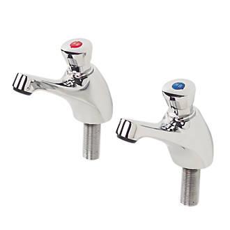 """H & C  Self-Closing Non-Concussive Bathroom Basin Taps Pair ½"""" Chrome"""