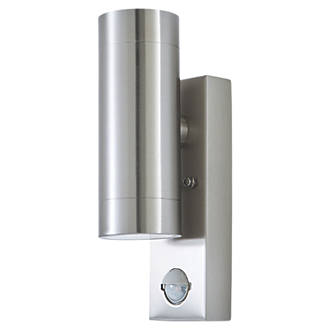 LAP 5510807001 Up & Down PIR Outdoor Wall Light Brushed Chrome 2 x 350lm 5.3W