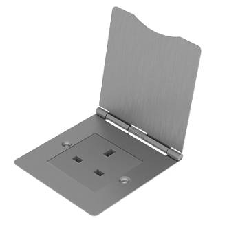 British General 13A 1-Gang Unswitched Floor Socket Brushed Steel