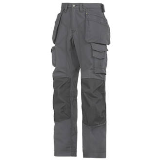 """Snickers Rip-Stop Floorlayer Trousers Grey / Black 31"""" W 32"""" L"""