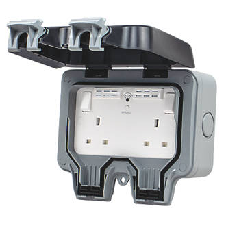 British General  IP66 13A 2-Gang SP Weatherproof Outdoor Switched Wi-Fi Extender Socket