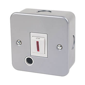 20A 1-Gang DP Metal Clad Control Switch with Neon with White Inserts