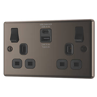 LAP  13A 2-Gang SP Switched Socket + 4.2A 2-Outlet USB Charger Black Nickel with Black Inserts