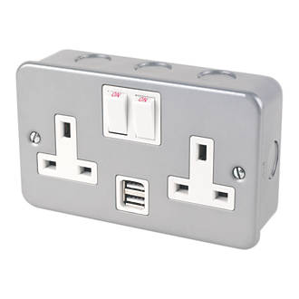 13A 2-Gang DP Switched Metal Clad Socket + 2.1A 2-Outlet USB Charger with White Inserts