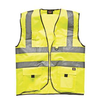 "Dickies  Hi-Vis Waistcoat Saturn Yellow Small 38"" Chest"