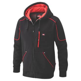 "Lee Cooper 105 Hooded Fleece Jacket Black/Red X Large 44"" Chest"
