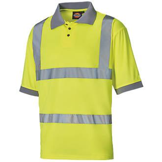 """Dickies SA22075 Hi-Vis Polo Shirt Yellow Large 46"""" Chest"""