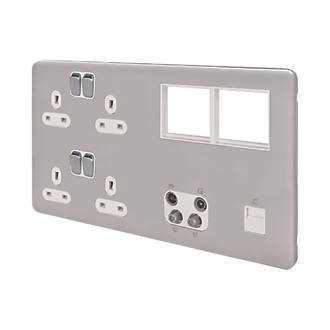 Schneider Electric Lisse Deco 13A 2-Gang Data Socket Brushed Stainless Steel with White Inserts