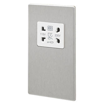 MK Aspect 2-Gang Dual Voltage Shaver Socket 115 / 230V Brushed Stainless Steel with White Inserts