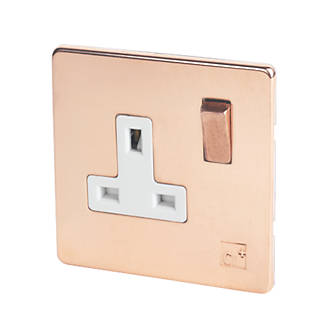 Varilight  13AX 1-Gang DP Switched Plug Socket Anti-Microbial Copper  with White Inserts
