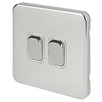 Schneider Electric Lisse Deco 10AX 2-Gang 2-Way Light Switch  Polished Chrome with White Inserts