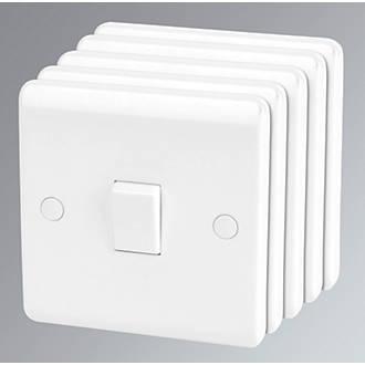 LAP  10AX 1-Gang 1-Way Light Switch  White  5 Pack