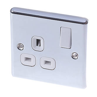 LAP  13A 1-Gang SP Switched Plug Socket Polished Chrome  with White Inserts