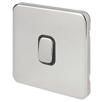 Schneider Electric Lisse Deco 10A 1-Gang 2-Way Retractive Switch Polished Chrome with Black Inserts