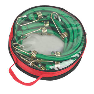 Bungee Cords with Zinc Hooks Green 900 x 12mm 6 Pack