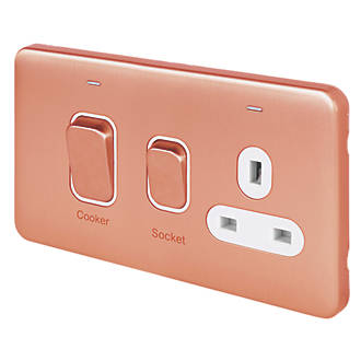 Schneider Electric Lisse Deco 45A 2-Gang DP Cooker Switch Copper with LED with White Inserts