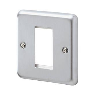 MK Albany Plus 1-Module Modular Light Switch Surround Brushed Chrome