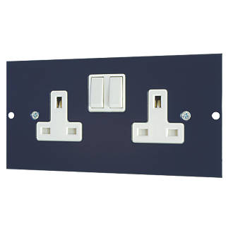 Schneider Electric  13A 2-Gang 2-Pole Switched Floor Box Blue with White Inserts