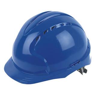 JSP EVO2 Mid Peak Slip-Ratchet Vented Safety Helmet Blue