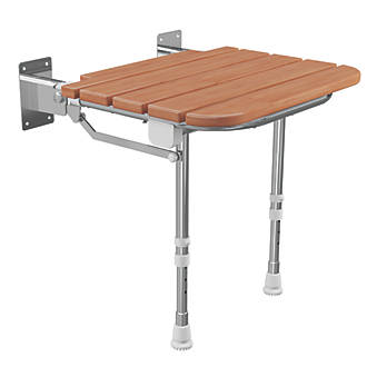 Cassellie Wall-Mounted Shower Seat Natural Wood