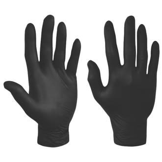Polyco Bodyguards GL897 Nitrile Powder-Free Disposable Gloves Black Medium 100 Pack