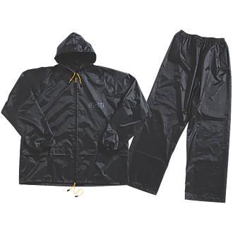 """JCB Essential Rain Suit Black Large 44-46"""" Chest"""